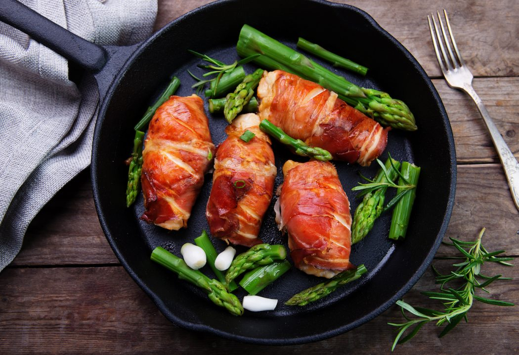 Chicken stuffed with Almond & Apricot and wrapped in Prosciutto